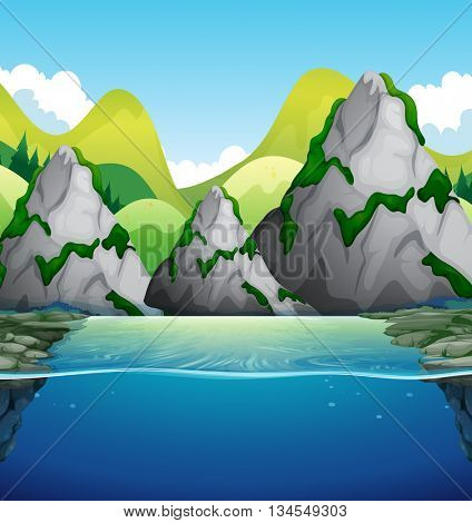 Nature scene with mountain and lake illustration
