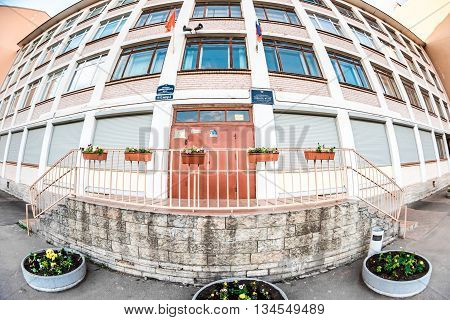 St.Petersburg Russia - May 17 2016: Wide view of school building.
