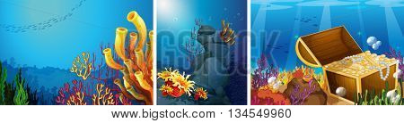 Scene underwater with coral reef illustration