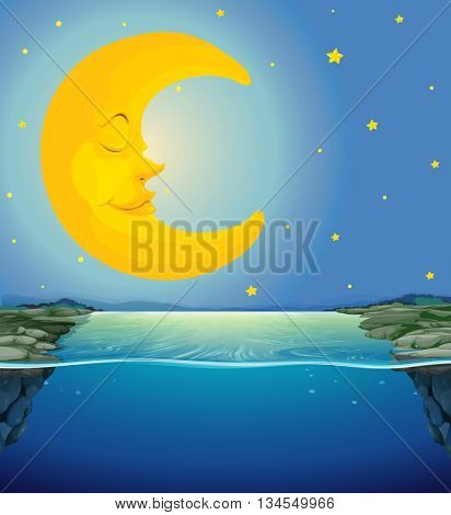 Night scene with moon and stars over the river illustration