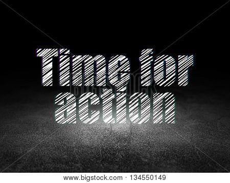 Timeline concept: Glowing text Time for Action in grunge dark room with Dirty Floor, black background