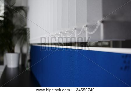 Work in the office with partition blue wall