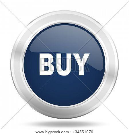 buy icon, dark blue round metallic internet button, web and mobile app illustration