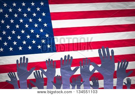 Open Hand Raised, Multi Purpose Concept, Usa (united States Of America) Flag Painted - Isolated On W