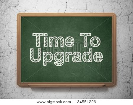 Time concept: text Time To Upgrade on Green chalkboard on grunge wall background, 3D rendering