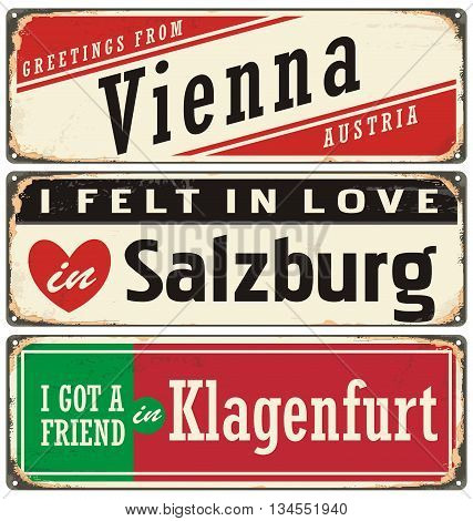 Retro tin sign collection with Austria city names. Vintage vector souvenir sign or postcard templates. Travel theme.