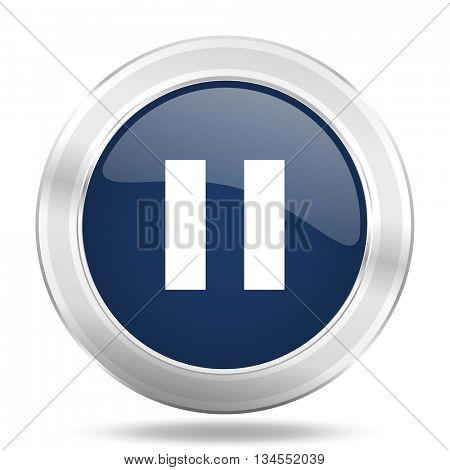 pause icon, dark blue round metallic internet button, web and mobile app illustration