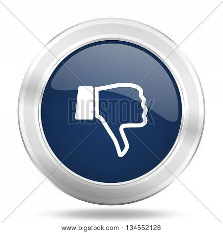 dislike icon, dark blue round metallic internet button, web and mobile app illustration