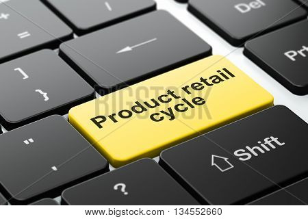 Advertising concept: computer keyboard with word Product retail Cycle, selected focus on enter button background, 3D rendering
