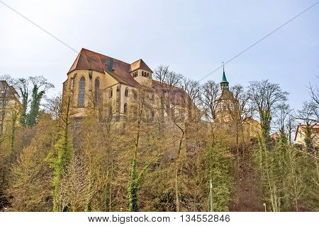 Abbey church of Backnang above the city near town hall and market place.