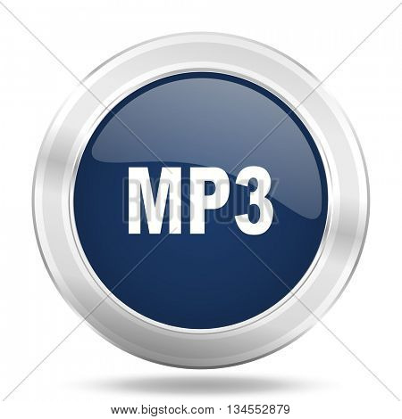 mp3 icon, dark blue round metallic internet button, web and mobile app illustration