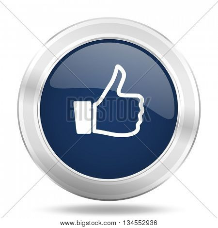 like icon, dark blue round metallic internet button, web and mobile app illustration