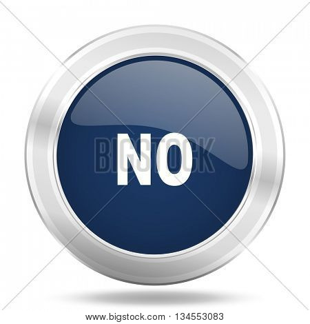 no icon, dark blue round metallic internet button, web and mobile app illustration