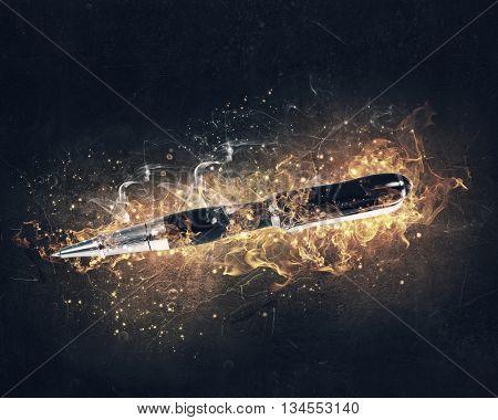 Pen burning in fire