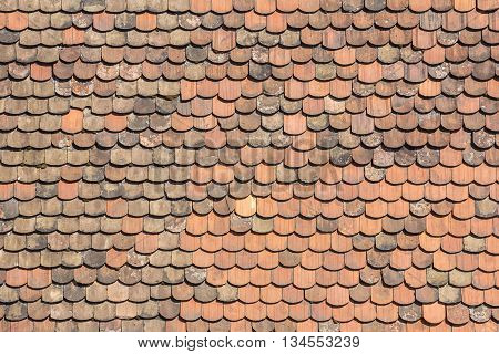 The Old tiles roof as texture background