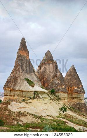 Wonderful mountain landscape carved in volcanic tuff by erosion in Cappadocia Turkey