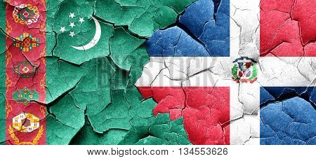 Turkmenistan flag with Dominican Republic flag on a grunge crack