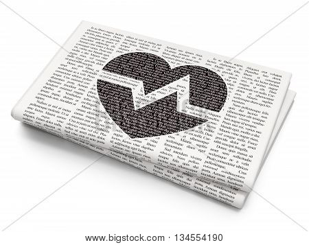 Health concept: Pixelated black Heart icon on Newspaper background, 3D rendering