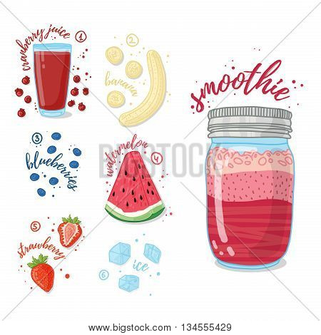 Summer smoothie with cranberry juice, banana, watermelon, strawberries and blueberries. Vegetarian cocktail in a glass jar. Recipe smoothie for healthy food with fruit and berry. Vector illustration