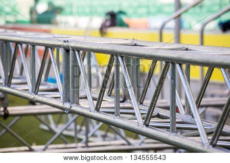 Assembling The Big Stage On Stadium