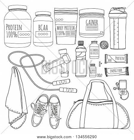 A set of objects of sports nutrition. Bags for training, trainers, dumbbells and supplements for athletes. Line style. Vector illustration