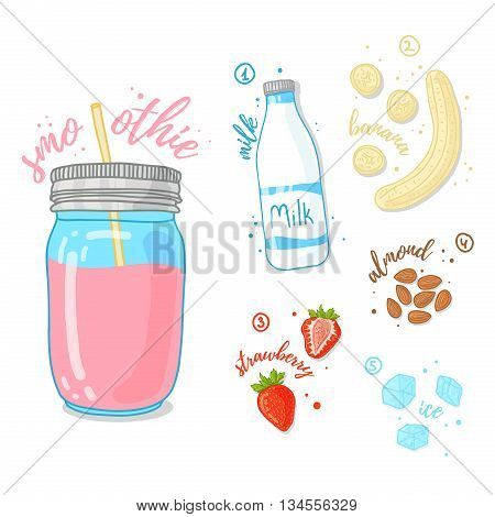 Pink cocktail of fruits, berries and nuts. Milk smoothie with strawberries, almonds and banana. The recipe for strawberry smoothie in a glass jar. Vector illustration