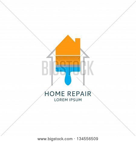 Home repair logo template. House icon. Painting service logotype. Paintbrush icon.