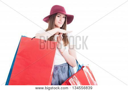 Smiling Beautiful Woman Doing A Pause Or Time Out Gesture