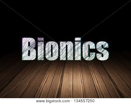 Science concept: Glowing text Bionics in grunge dark room with Wooden Floor, black background