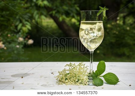 soft drink with ice cubes from elderflower syrup juice champagne soda and mint in a glass on a white wooden table in the garden selected focus narrow depth of field