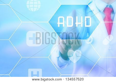 Medical Doctor Pressing 'adhd' Button On Virtual Touch Screen On Blue Technology Background