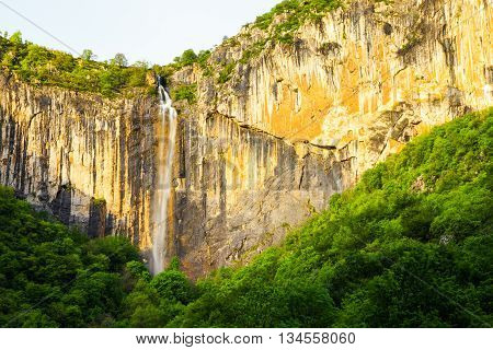 Skaklya is the highest waterfall on Balkan Peninsula - 141 meters. Skaklya is intermittent flowing waterfall - only during snow melt and rains. Located nearly the town of Vratsa Bulgaria.