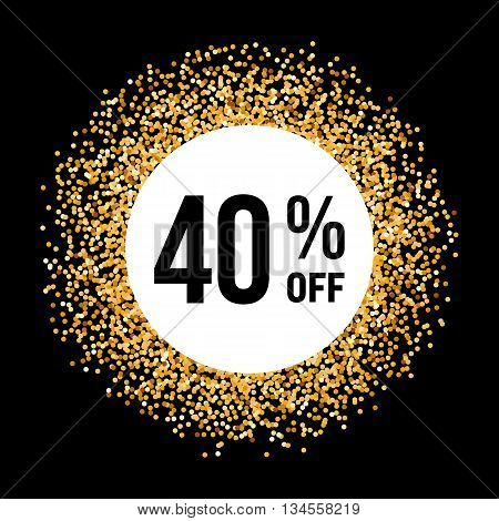 Golden Circle Frame on Black Background with Discount Forty Percent
