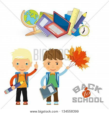 Back To School Design. Vector Illustration Two Schoolboys With Satchels And School Subjects