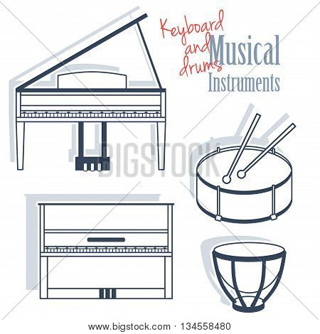 A set of keyboards and percussion instruments. Musical Instruments in flat monochrome style isolated on white background. Royal piano drums and kettle-drum.