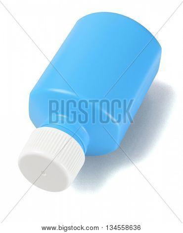 Plastic Bottle for Liquid Medicine on Lying White Background