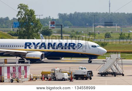 BERLIN / GERMANY - JUNE 4 2016: Boing 737 - 8AS from Ryanair on airport schoenefeld berlin / germany at june 4 2016