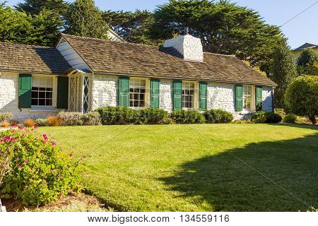 House With Large Lawn And Trees