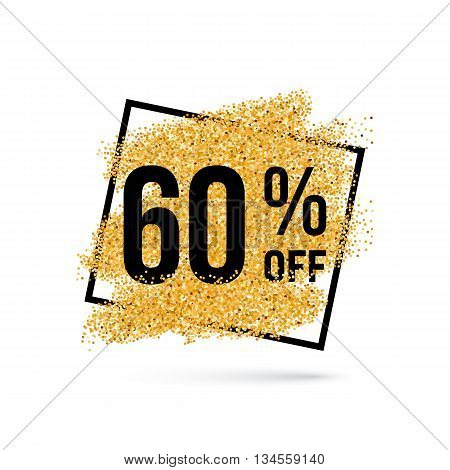 Gold Discount Background for Sale Sign with Sixty Percent