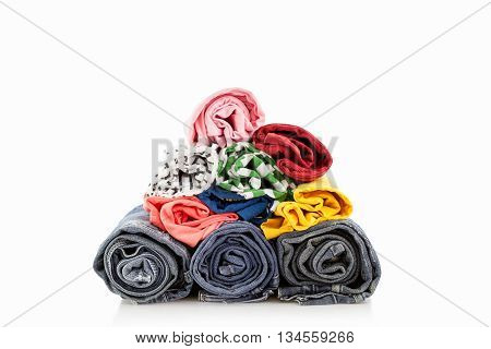 Pile of colorful clothes and Beautiful summer isolated on white background
