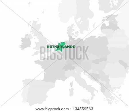 Netherlands location modern detailed map. All european countries without names. Vector template of beautiful flat grayscale map design with selected country name text and border location