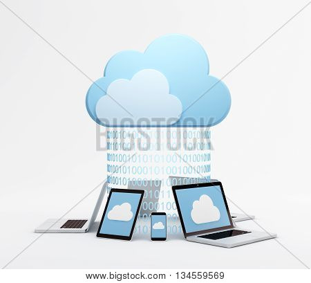 Smart phones, tablet pc and laptops around virtual cloud with binary codes.