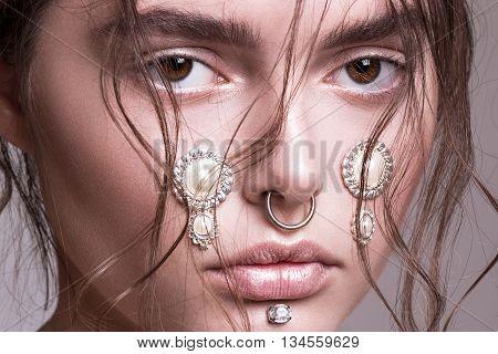 Eyes, hairstyle, make up, beauty, emotions fashion, editorial studio white bakground femalemodel