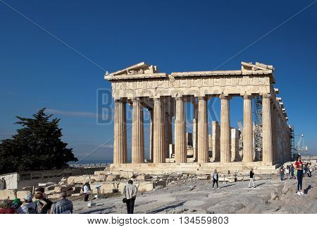 ATHENS, GREECE - MAY 6, 2016: Photo of Parthenon. Acropolis.