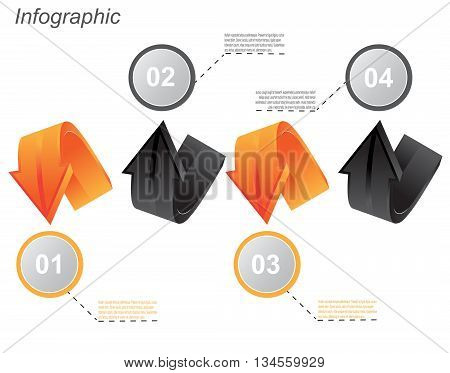 Info-graphic design templates in the form of a 3D arrow. Idea to display, ranking and statistics.