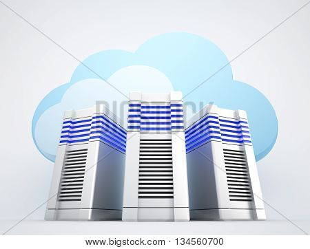 Three network servers and blue clouds on white background. 3d rendered illustration.