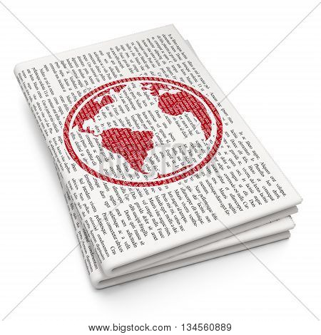 Studying concept: Pixelated red Globe icon on Newspaper background, 3D rendering