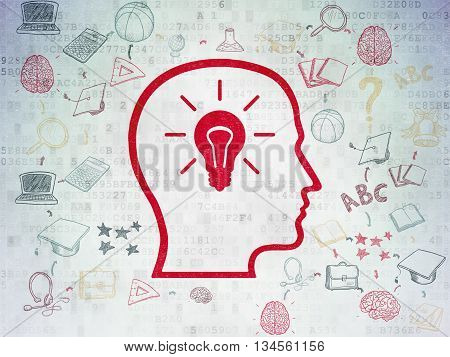 Studying concept: Painted red Head With Lightbulb icon on Digital Data Paper background with Scheme Of Hand Drawn Education Icons