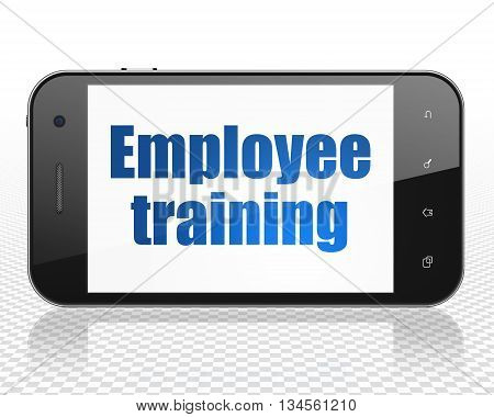 Learning concept: Smartphone with blue text Employee Training on display, 3D rendering
