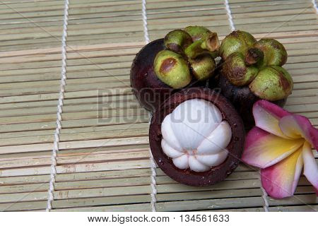 mangosteen Thai fruit delicious sweet  on a wooden background